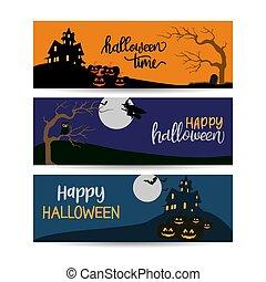 halloween banners template design vector illustration