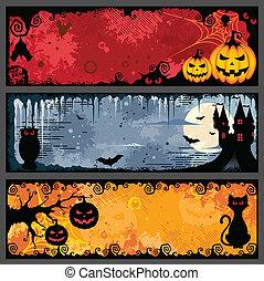 Halloween Banners - Vector set of three grunge halloween...