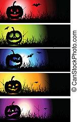 halloween, bannières, conception, ton