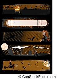 halloween, bannières, vecteur, ensemble