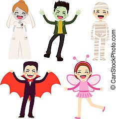 halloween, barn, kostymer
