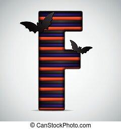 Halloween Bat Alphabet Letters Stripe Black Orange Purple -...
