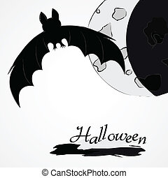 Halloween bat and moon