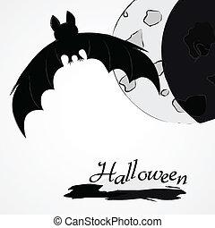 Halloween bat and moon