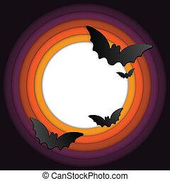 Halloween Bat Circle Frame Pumpkin Background