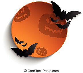 Halloween Bat Circle Frame Pumpkin Background Vector