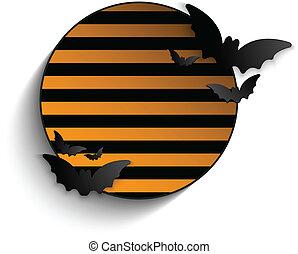 Halloween Bat Circle Frame Striped Background Vector