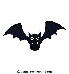 halloween, bat flying icon in white background