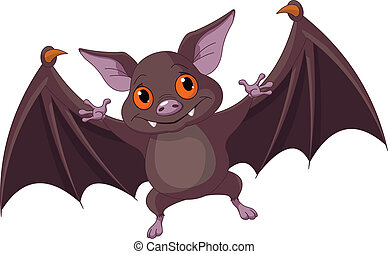 Halloween bat flying - Illustration of Cute Cartoon...