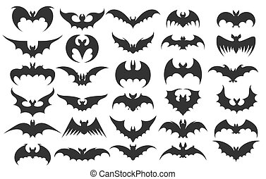 Halloween bat icons. Vector vampire bats silhouettes for...