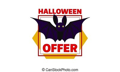 Halloween bat offer icon animation best object on white background