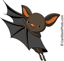 Halloween bat presenting - Cute Cartoon Halloween bat...