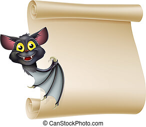 An illustration of a cute cartoon Halloween vampire bat peeping round a scroll sign and showing what is written on it.