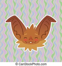 Halloween Bat smiley head got blushed. Vector illustration of bat-eared brown snout with red cheeks shows shy emotion. Blushing emoji. Halloween decoration, print, sticker, chat, communication.