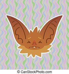Halloween Bat smiley head got scared with closed eyes. Vector illustration of bat-eared brown snout shows fear emotion. Unhappy emoji. Halloween decoration, print, sticker, chat, communication
