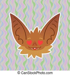 Halloween Bat smiley head with hearts in eyes. In love. Vector illustration of bat-eared brown snout shows enamored emotion. Amorous emoji. Halloween decoration, print, sticker, chat, communication