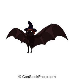 halloween bat with witch hat