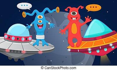 halloween, bateaux, vecteur, heureux, planètes, monstrueux, ...