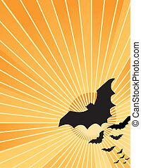 Halloween Bats at Sunset - Halloween bats flying out at...