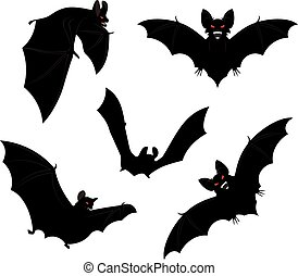 Halloween Bats - Set of black halloween bats silhouettes...