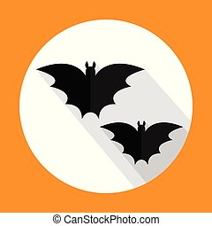 Halloween bats flat icon with long shadow. Vector illustration. EPS10.