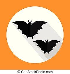 Halloween bats flat icon with long shadow. Vector illustration. EPS10.