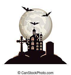 halloween bats flying with castle in cemetery night scene