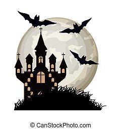 halloween bats flying with castle in night scene