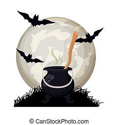 halloween bats flying with cauldron in night scene