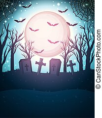 halloween bats flying with moon in cemetery