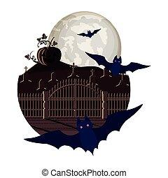 halloween bats flying with pumpkin in cemetery night scene
