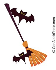 halloween bats flying with witch broom