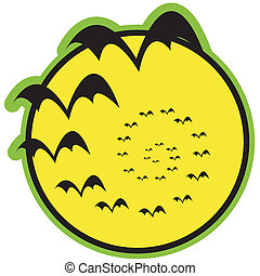Halloween Bats Full Moon Clip Art