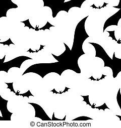 Halloween bats seamless pattern on white background