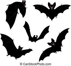 Halloween Bats - Set of black halloween bats silhouettes...