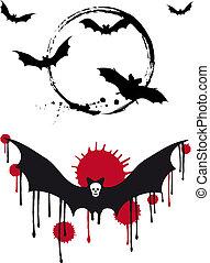 Halloween bats, vector set