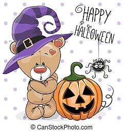 Halloween illustration of Cartoon Bear with pumpkin on a dots background