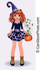 Halloween beautiful little witch