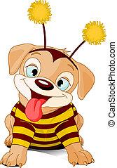Halloween bee-dog - Cute little puppy dressed-up like bee...