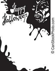 halloween, begroetende kaart, vampier