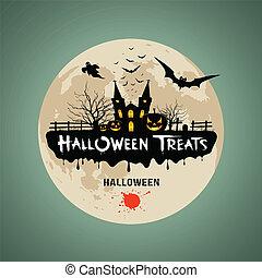 halloween, behandelt, nachricht, design