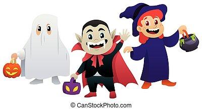 halloween, bianco, bambini