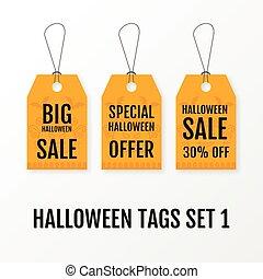 Halloween big sale tags set vector isolated templates.
