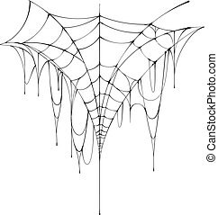Halloween big scary black spider web hang on white background. Vector isolated