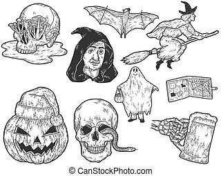 Halloween big set, sketch drawings. Coloring scratch board imitation.