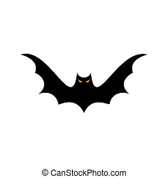 Halloween black bats fly silhouette isolated on white background. Vector illustration.