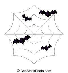 Halloween black bats on spiderweb vector design