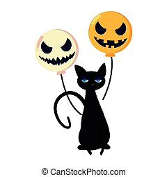halloween black cat and scary balloons