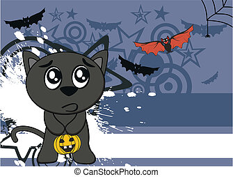 halloween black cat cartoon backg11