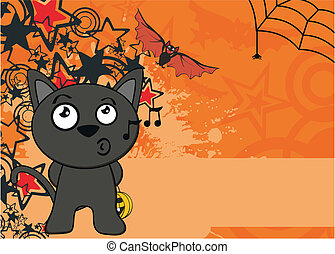 halloween black cat cartoon backg4